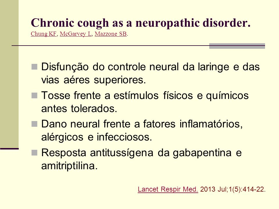 Chronic cough as a neuropathic disorder