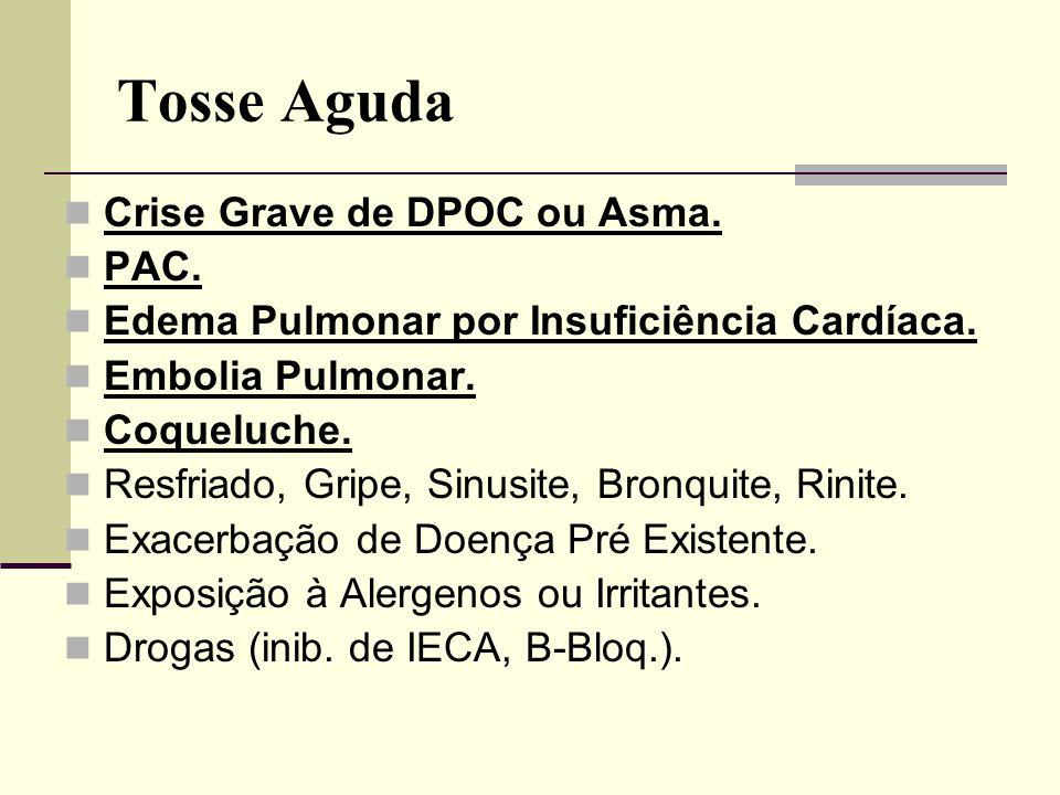 Tosse Aguda Crise Grave de DPOC ou Asma. PAC.