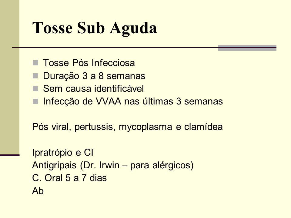 Tosse Sub Aguda Tosse Pós Infecciosa Duração 3 a 8 semanas