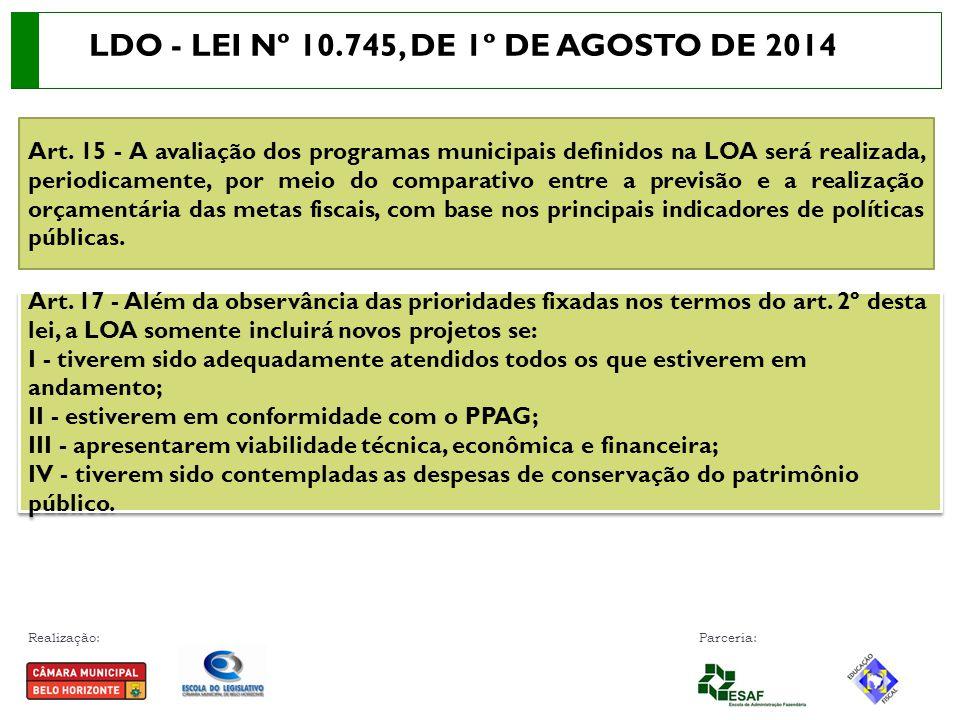 LDO - LEI Nº 10.745, DE 1º DE AGOSTO DE 2014