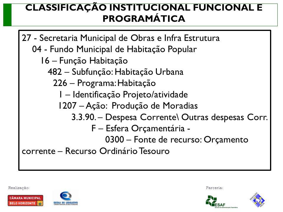 CLASSIFICAÇÃO INSTITUCIONAL FUNCIONAL E PROGRAMÁTICA