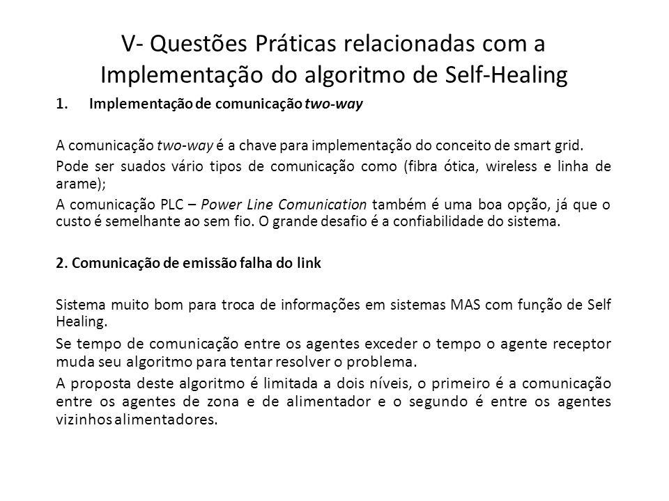 V- Questões Práticas relacionadas com a Implementação do algoritmo de Self-Healing