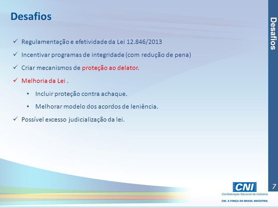 Desafios Desafios Regulamentação e efetividade da Lei 12.846/2013