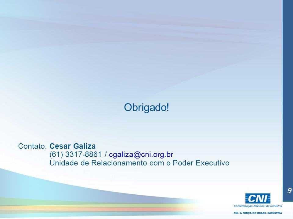 Obrigado! Contato: Cesar Galiza (61) 3317-8861 / cgaliza@cni.org.br