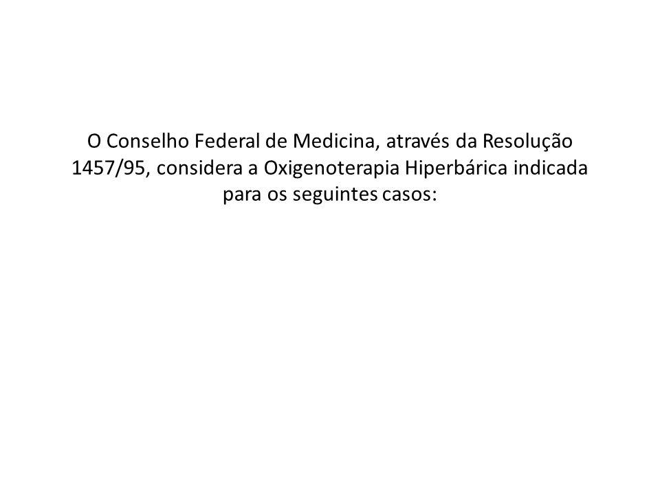 O Conselho Federal de Medicina, através da Resolução 1457/95, considera a Oxigenoterapia Hiperbárica indicada para os seguintes casos: