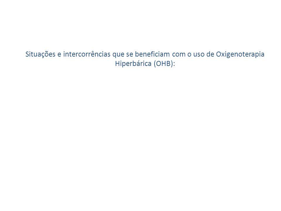 Situações e intercorrências que se beneficiam com o uso de Oxigenoterapia Hiperbárica (OHB):