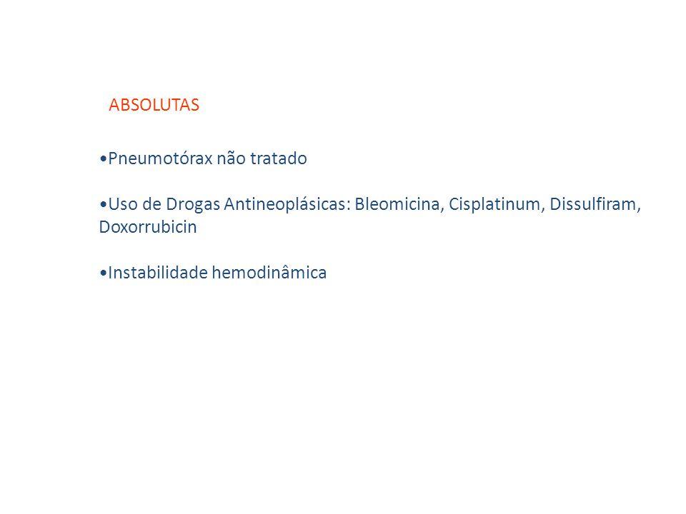 ABSOLUTAS Pneumotórax não tratado. Uso de Drogas Antineoplásicas: Bleomicina, Cisplatinum, Dissulfiram, Doxorrubicin.