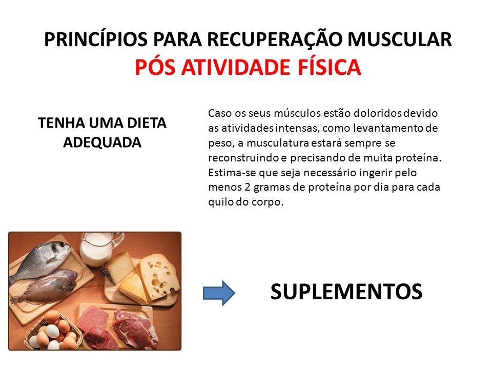 PRINCÍPIOS PARA RECUPERAÇÃO MUSCULAR TENHA UMA DIETA ADEQUADA
