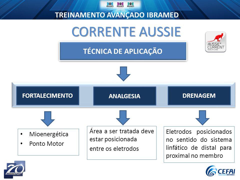 CORRENTE AUSSIE TÉCNICA DE APLICAÇÃO FORTALECIMENTO ANALGESIA DRENAGEM