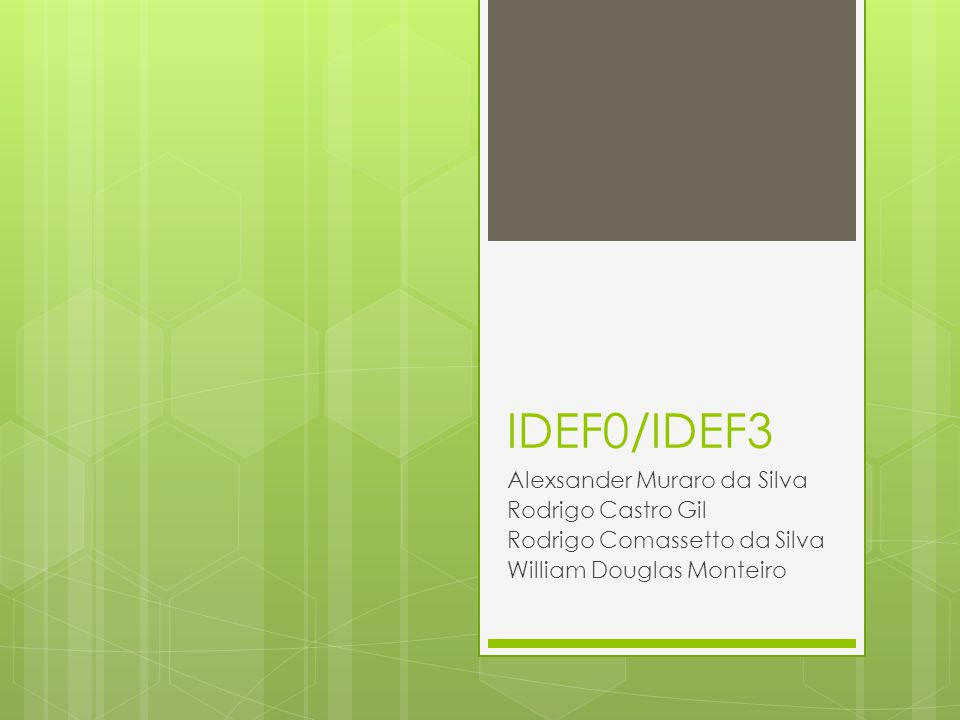 IDEF0/IDEF3 Alexsander Muraro da Silva Rodrigo Castro Gil