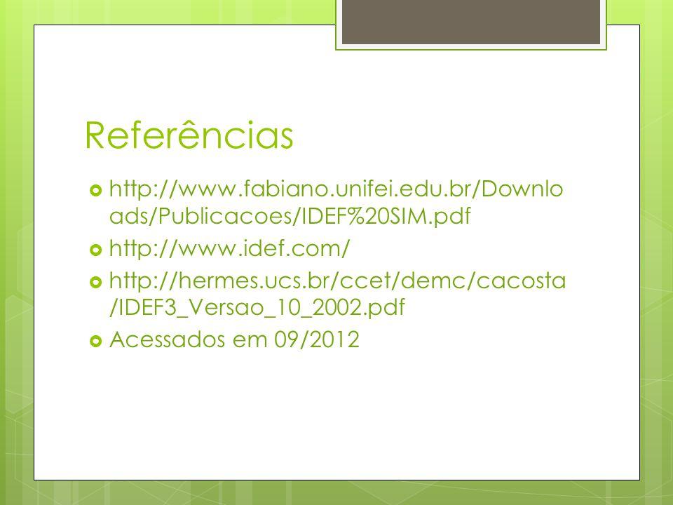 Referências http://www.fabiano.unifei.edu.br/Downloads/Publicacoes/IDEF%20SIM.pdf. http://www.idef.com/