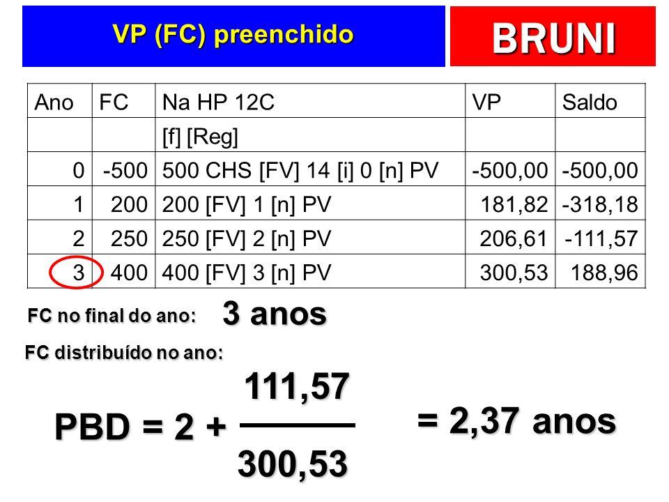 111,57 = 2,37 anos PBD = 2 + 300,53 3 anos VP (FC) preenchido Ano FC