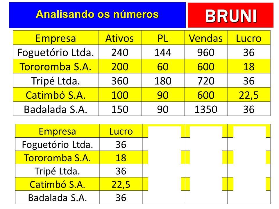 Empresa Ativos PL Vendas Lucro Foguetório Ltda. 240 144 960 36