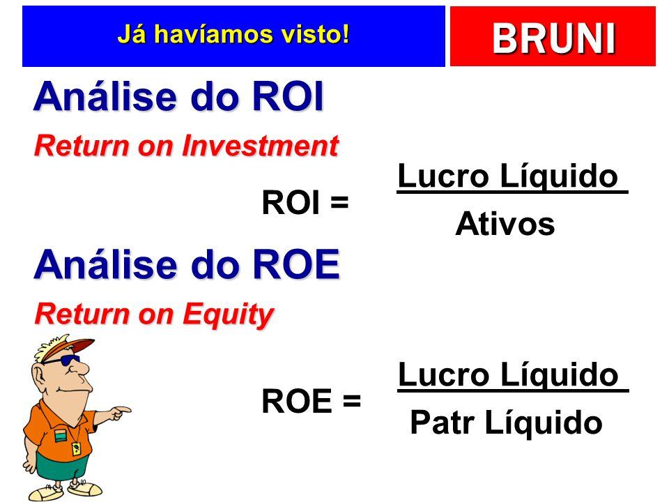 Análise do ROI Análise do ROE Lucro Líquido ROI = Ativos Lucro Líquido