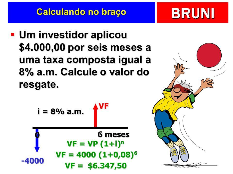 Calculando no braço Um investidor aplicou $4.000,00 por seis meses a uma taxa composta igual a 8% a.m. Calcule o valor do resgate.
