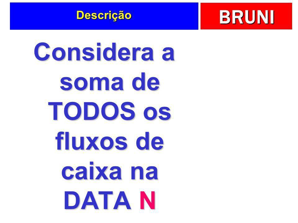Considera a soma de TODOS os fluxos de caixa na DATA N