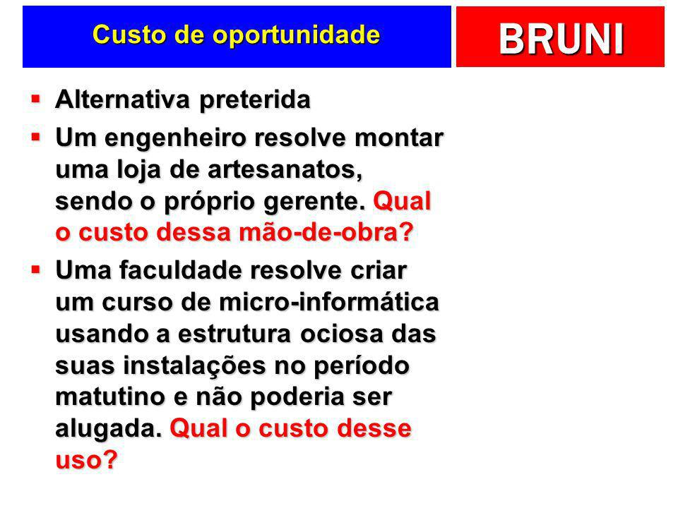 Custo de oportunidade Alternativa preterida.