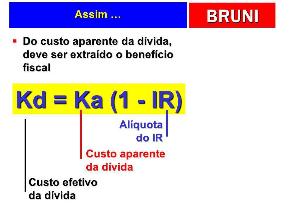 Assim …Do custo aparente da dívida, deve ser extraído o benefício fiscal. Kd = Ka (1 - IR) Alíquota do IR.