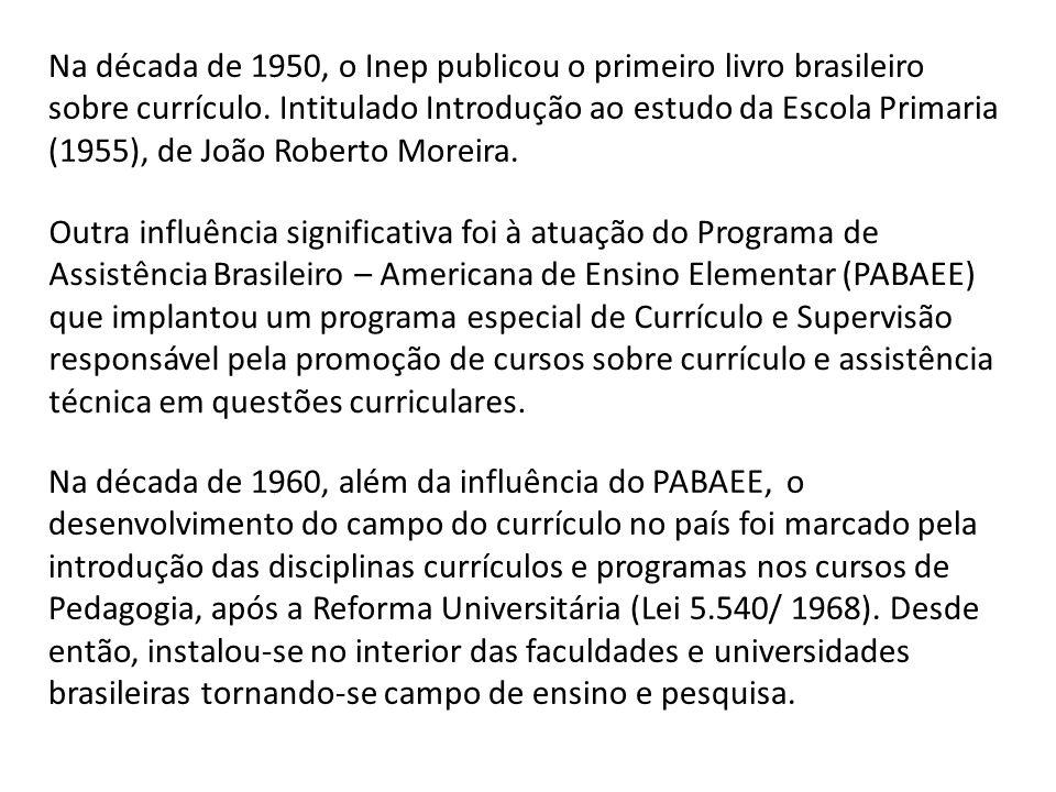 Na década de 1950, o Inep publicou o primeiro livro brasileiro sobre currículo. Intitulado Introdução ao estudo da Escola Primaria (1955), de João Roberto Moreira.