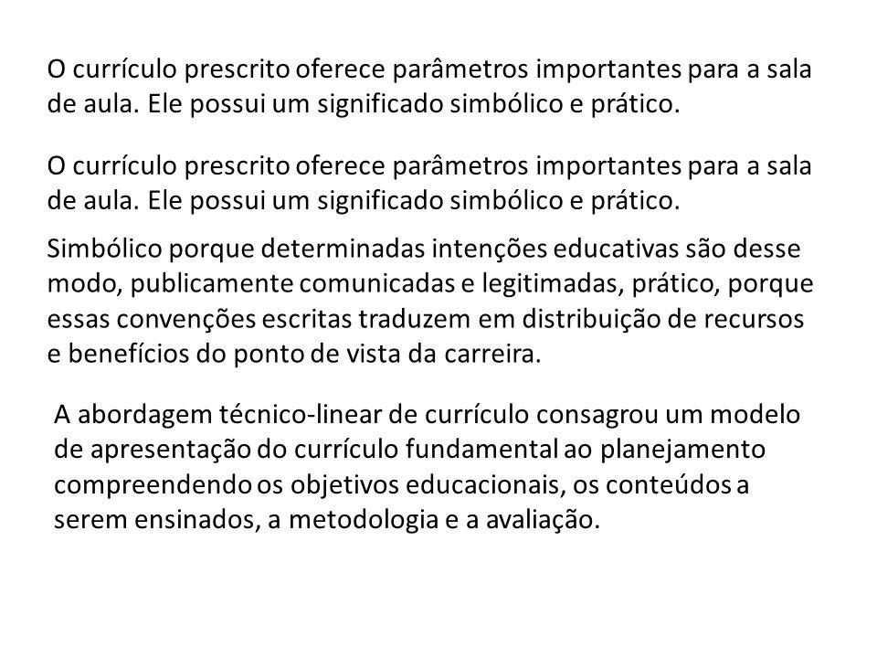 O currículo prescrito oferece parâmetros importantes para a sala de aula. Ele possui um significado simbólico e prático.