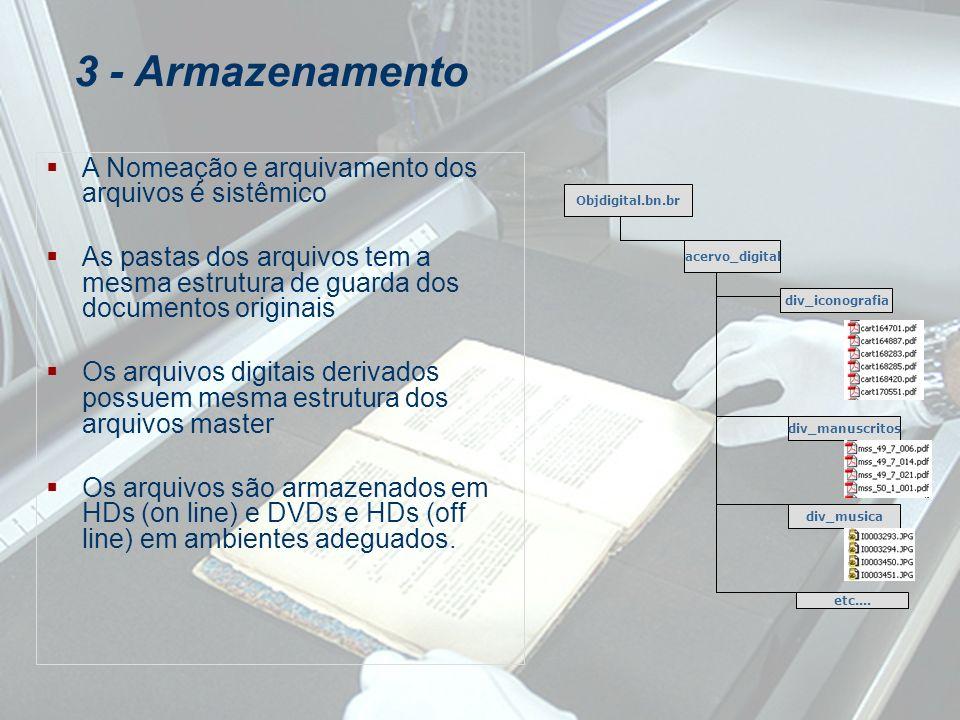 3 - Armazenamento A Nomeação e arquivamento dos arquivos é sistêmico