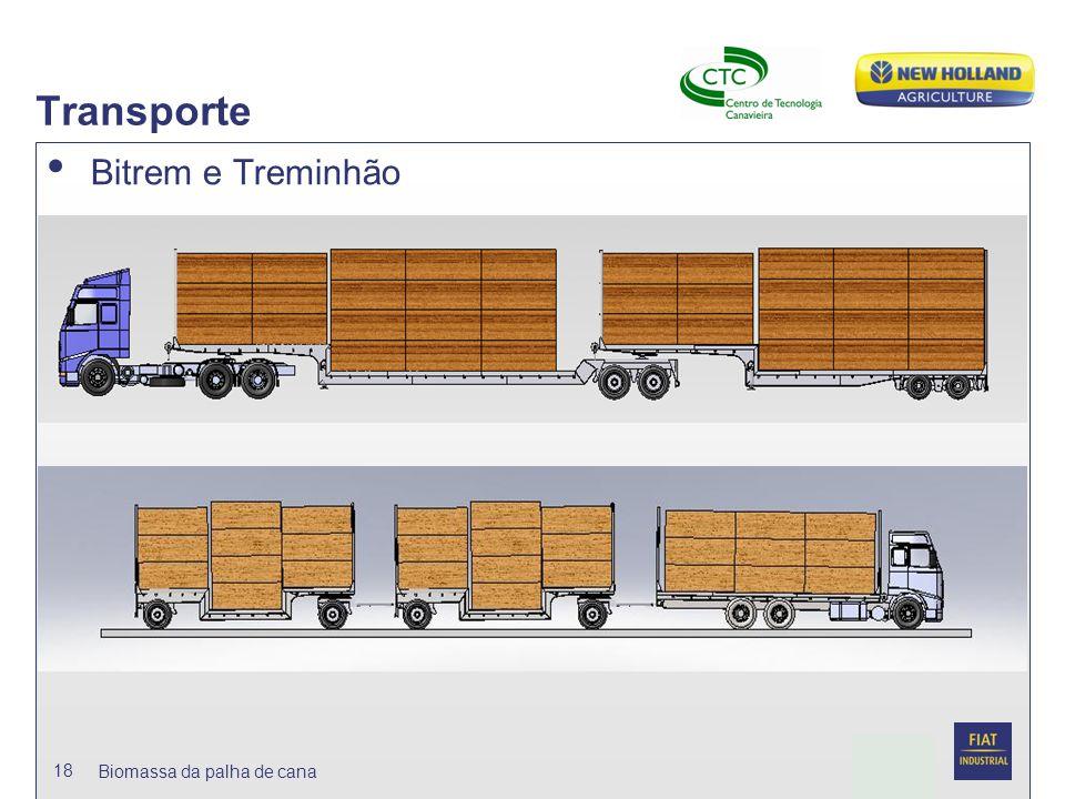 Transporte Bitrem e Treminhão Biomassa da palha de cana
