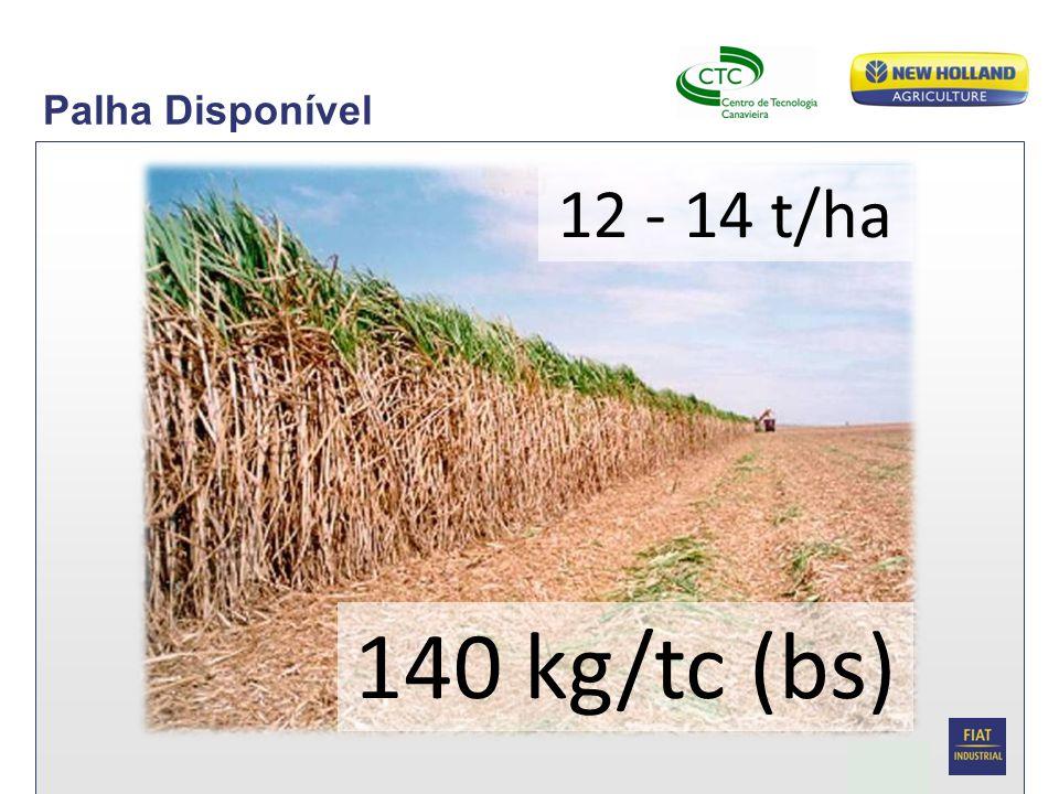 Palha Disponível 12 - 14 t/ha 140 kg/tc (bs)