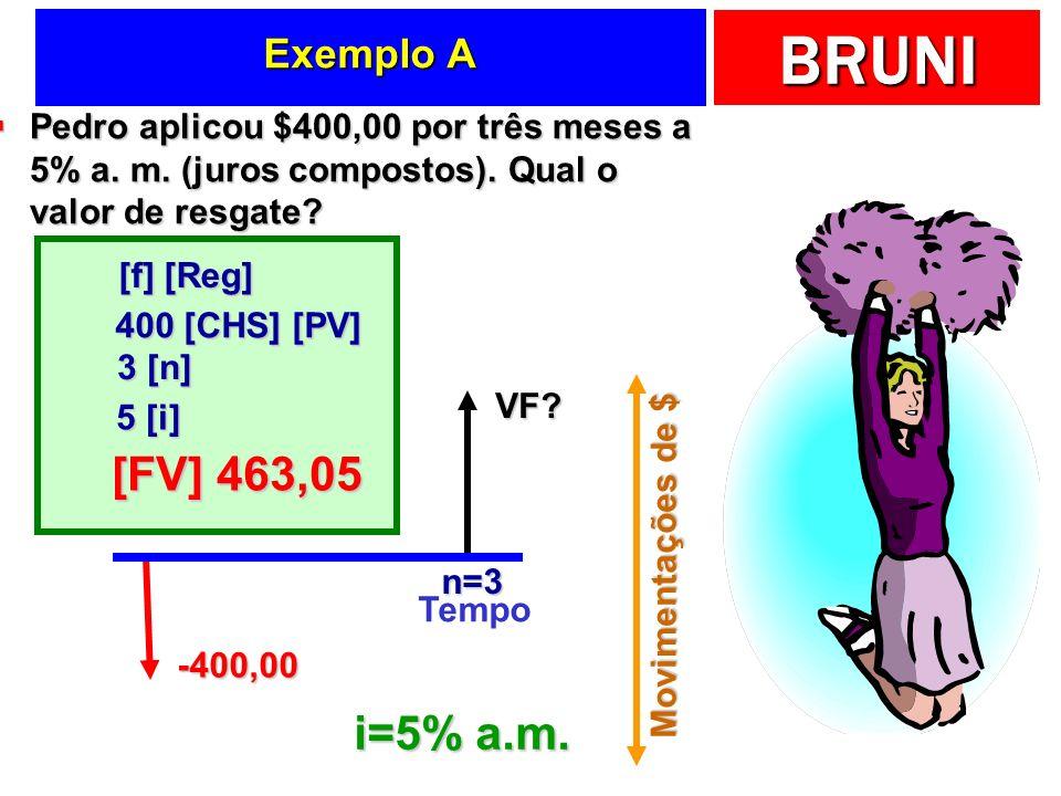 Exemplo A Pedro aplicou $400,00 por três meses a 5% a. m. (juros compostos). Qual o valor de resgate