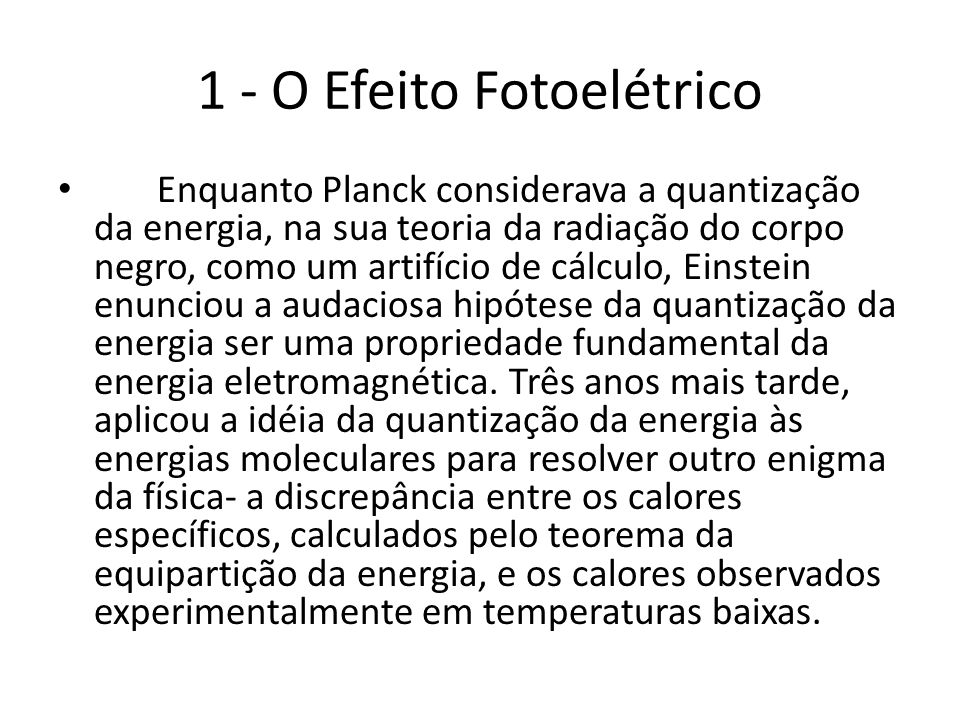 1 - O Efeito Fotoelétrico