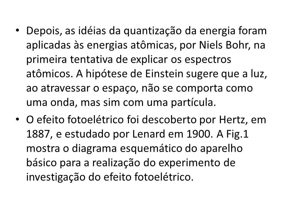 Depois, as idéias da quantização da energia foram aplicadas às energias atômicas, por Niels Bohr, na primeira tentativa de explicar os espectros atômicos. A hipótese de Einstein sugere que a luz, ao atravessar o espaço, não se comporta como uma onda, mas sim com uma partícula.