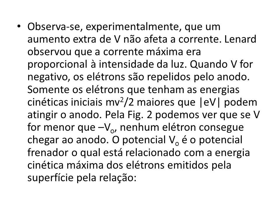Observa-se, experimentalmente, que um aumento extra de V não afeta a corrente.