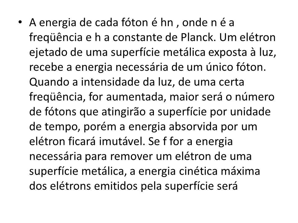 A energia de cada fóton é hn , onde n é a freqüência e h a constante de Planck.