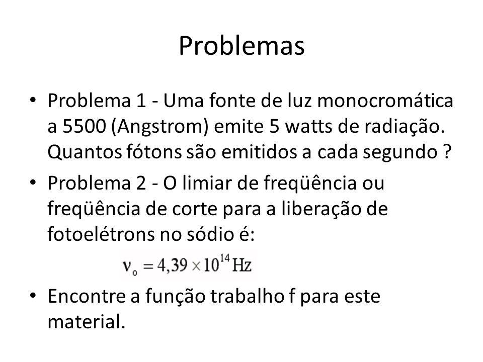 Problemas Problema 1 - Uma fonte de luz monocromática a 5500 (Angstrom) emite 5 watts de radiação. Quantos fótons são emitidos a cada segundo