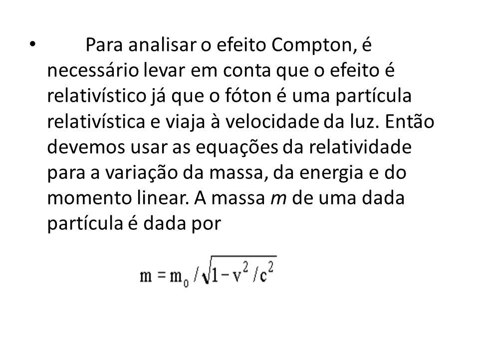 Para analisar o efeito Compton, é necessário levar em conta que o efeito é relativístico já que o fóton é uma partícula relativística e viaja à velocidade da luz.