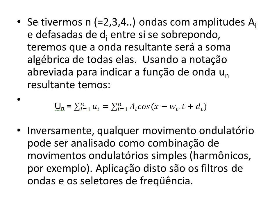 Se tivermos n (=2,3,4..) ondas com amplitudes Ai e defasadas de di entre si se sobrepondo, teremos que a onda resultante será a soma algébrica de todas elas. Usando a notação abreviada para indicar a função de onda un resultante temos:
