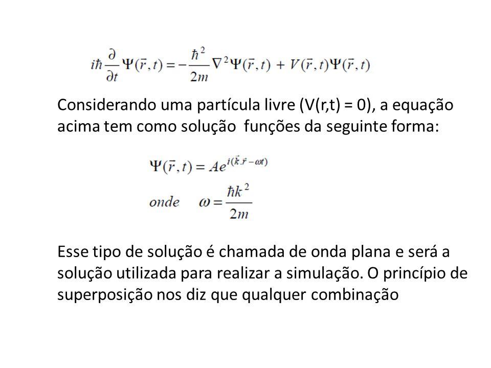 Considerando uma partícula livre (V(r,t) = 0), a equação acima tem como solução funções da seguinte forma: