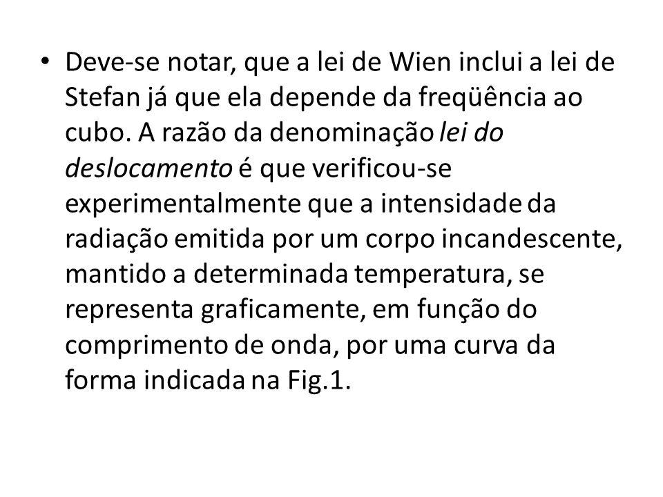 Deve-se notar, que a lei de Wien inclui a lei de Stefan já que ela depende da freqüência ao cubo.
