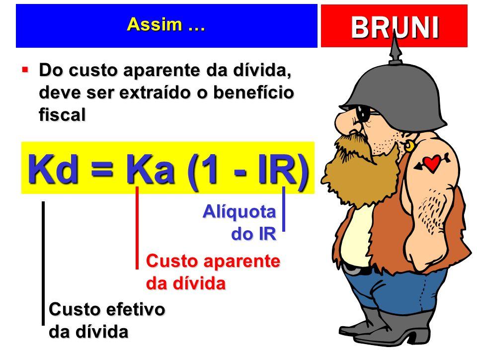 Assim … Do custo aparente da dívida, deve ser extraído o benefício fiscal. Kd = Ka (1 - IR) Alíquota do IR.
