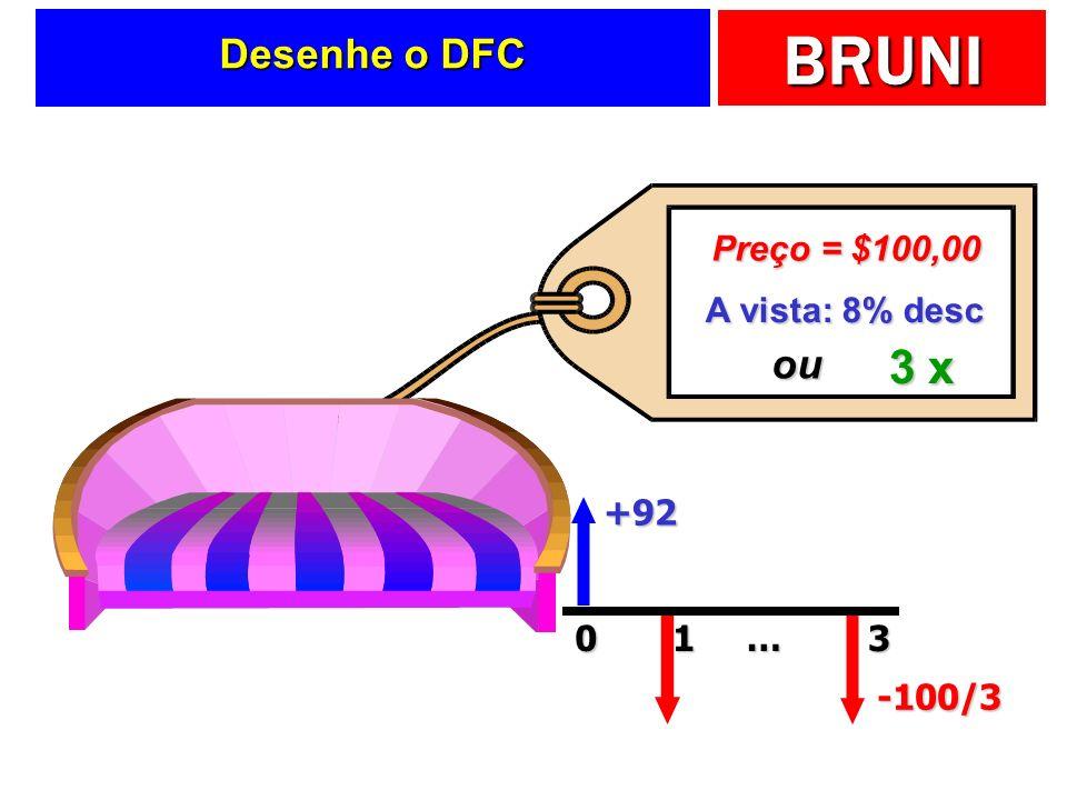 Desenhe o DFC Preço = $100,00 A vista: 8% desc ou 3 x +92 1 … 3 -100/3