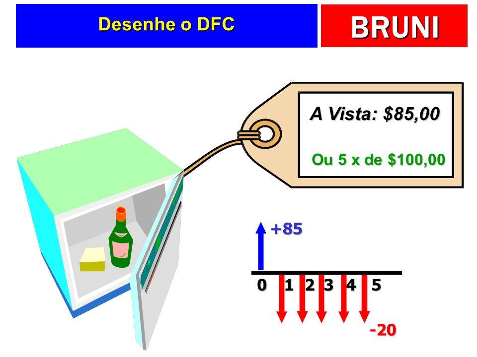 Desenhe o DFC A Vista: $85,00 Ou 5 x de $100,00 +85 1 2 3 4 5 -20