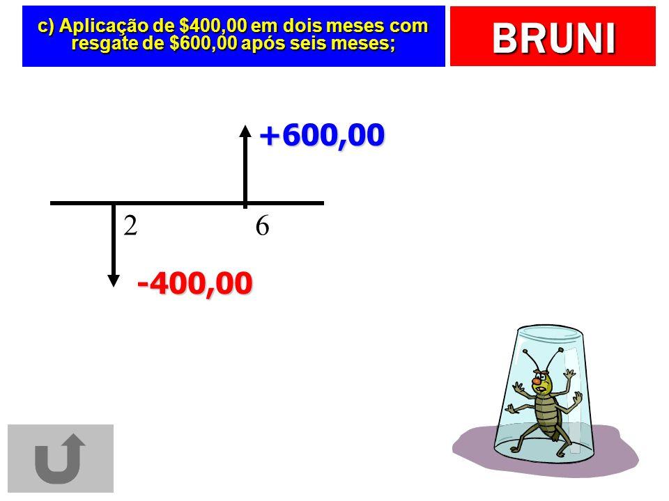 c) Aplicação de $400,00 em dois meses com resgate de $600,00 após seis meses;