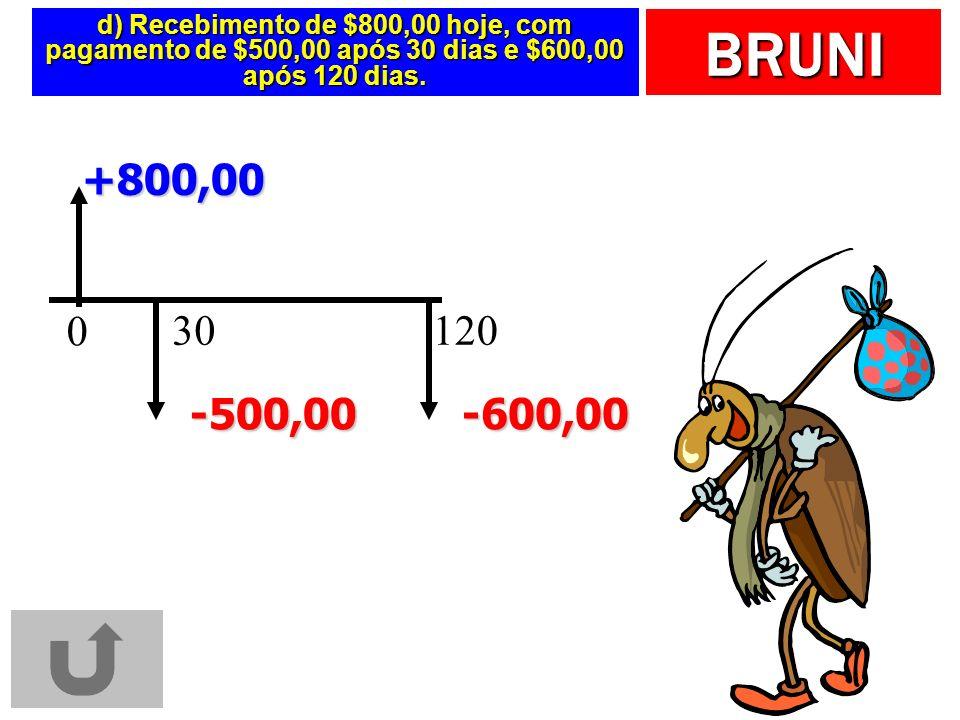 d) Recebimento de $800,00 hoje, com pagamento de $500,00 após 30 dias e $600,00 após 120 dias.