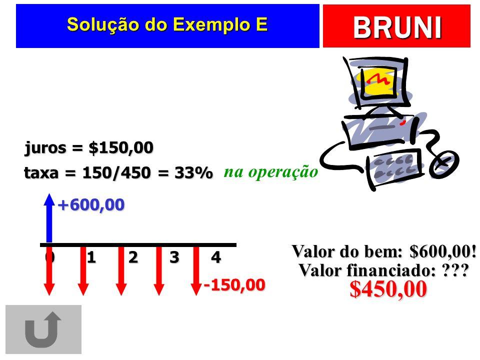 $450,00 Solução do Exemplo E na operação Valor do bem: $600,00!