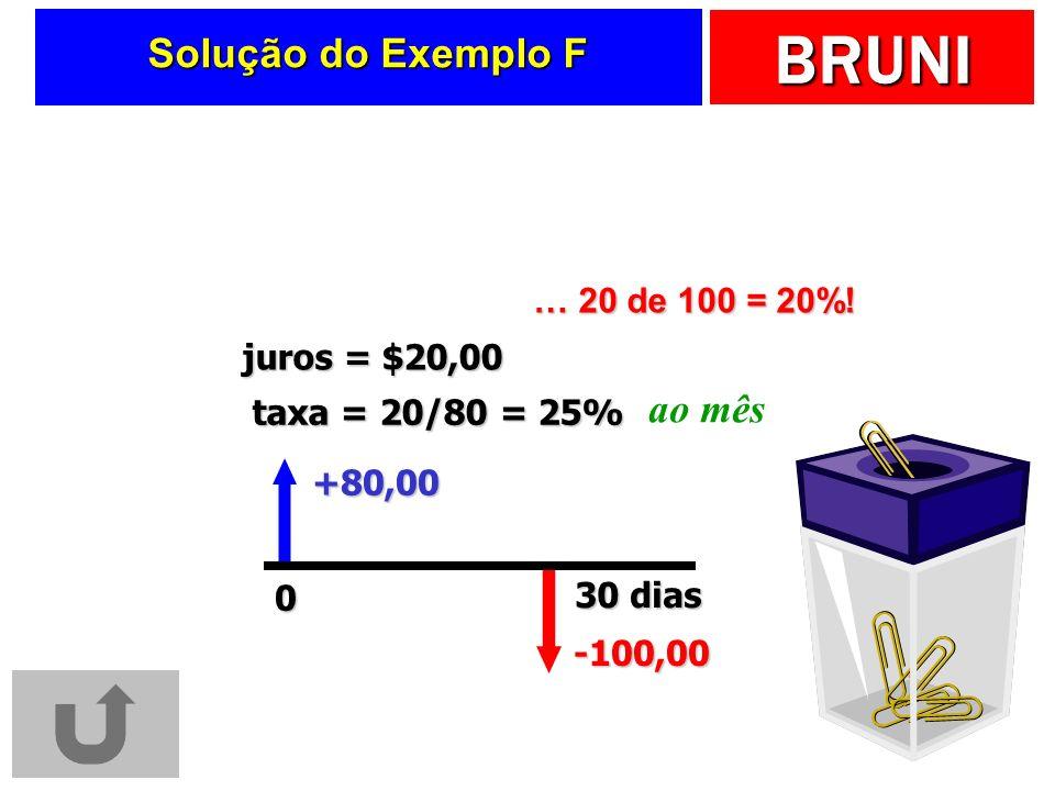 Solução do Exemplo F ao mês … 20 de 100 = 20%! juros = $20,00