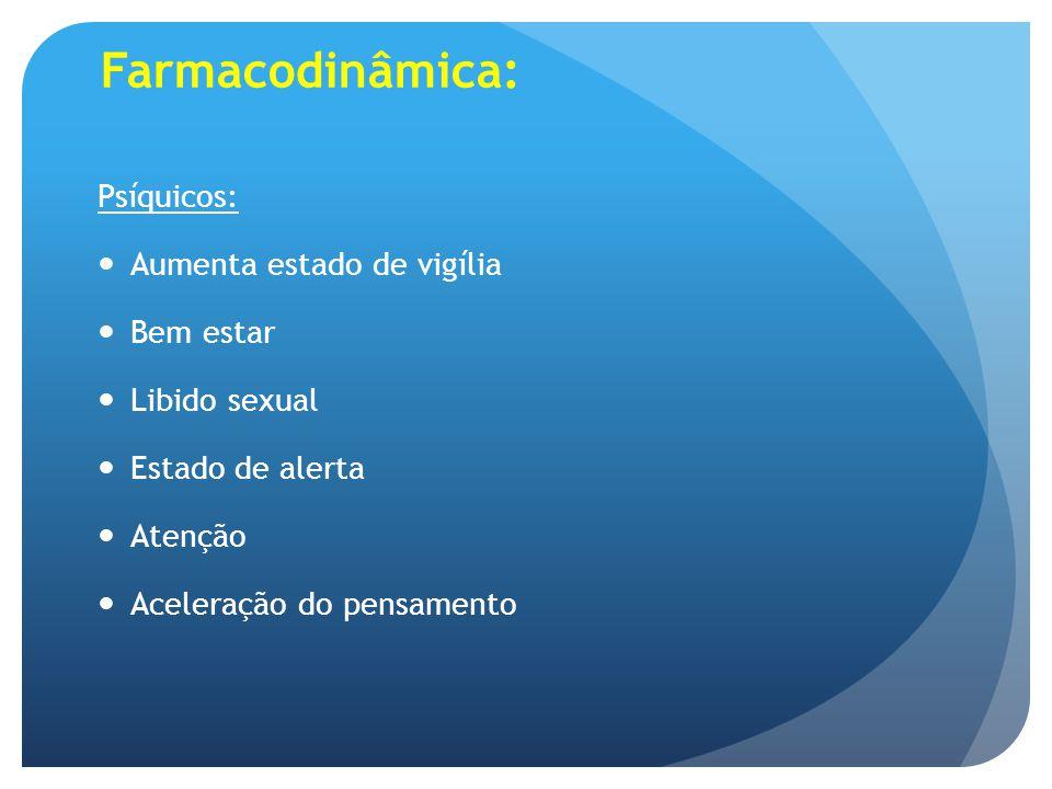 Farmacodinâmica: Psíquicos: Aumenta estado de vigília Bem estar