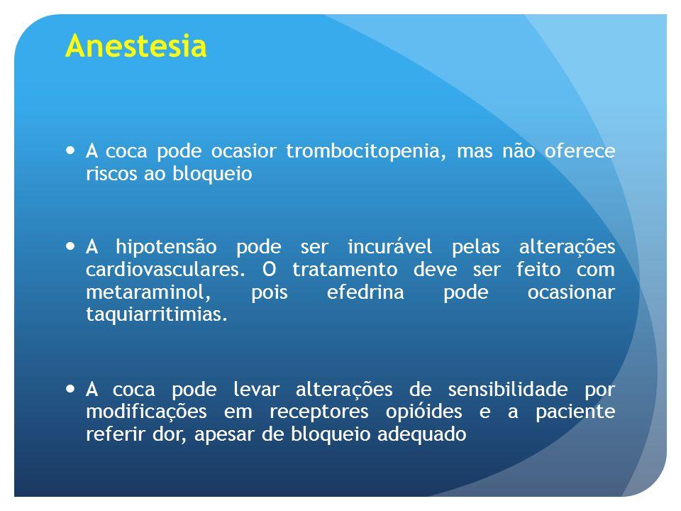 Anestesia A coca pode ocasior trombocitopenia, mas não oferece riscos ao bloqueio.
