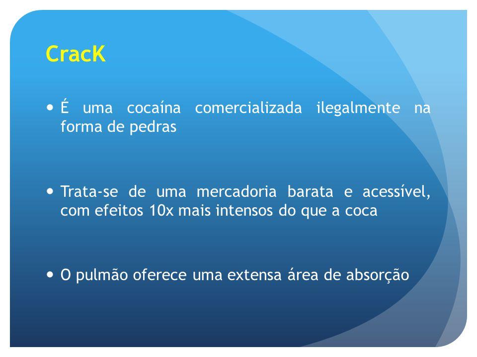 CracK É uma cocaína comercializada ilegalmente na forma de pedras