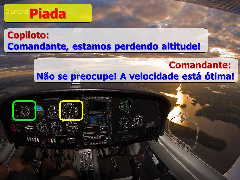 Piada Copiloto: Comandante, estamos perdendo altitude! Comandante: