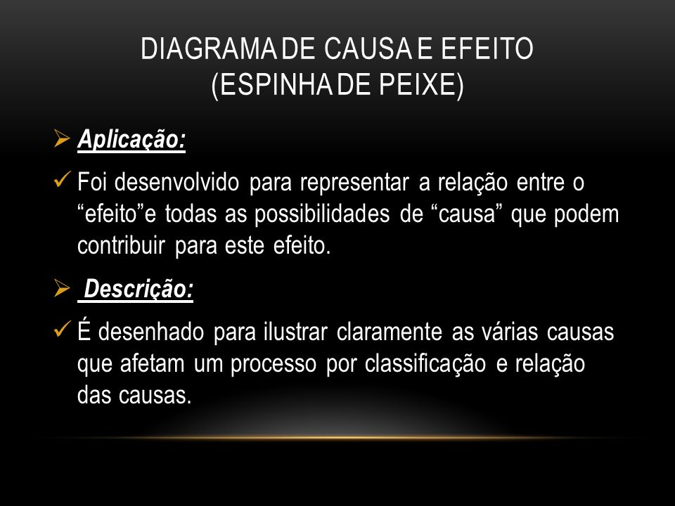 DIAGRAMA DE CAUSA E EFEITO (ESPINHA DE PEIXE)