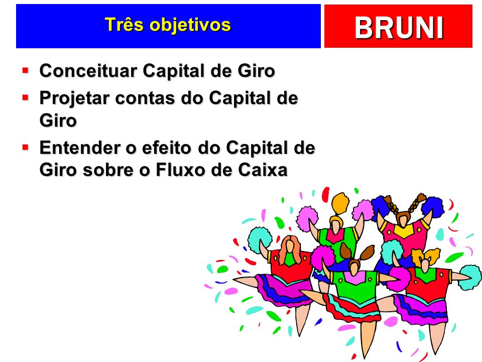 Três objetivos Conceituar Capital de Giro. Projetar contas do Capital de Giro.